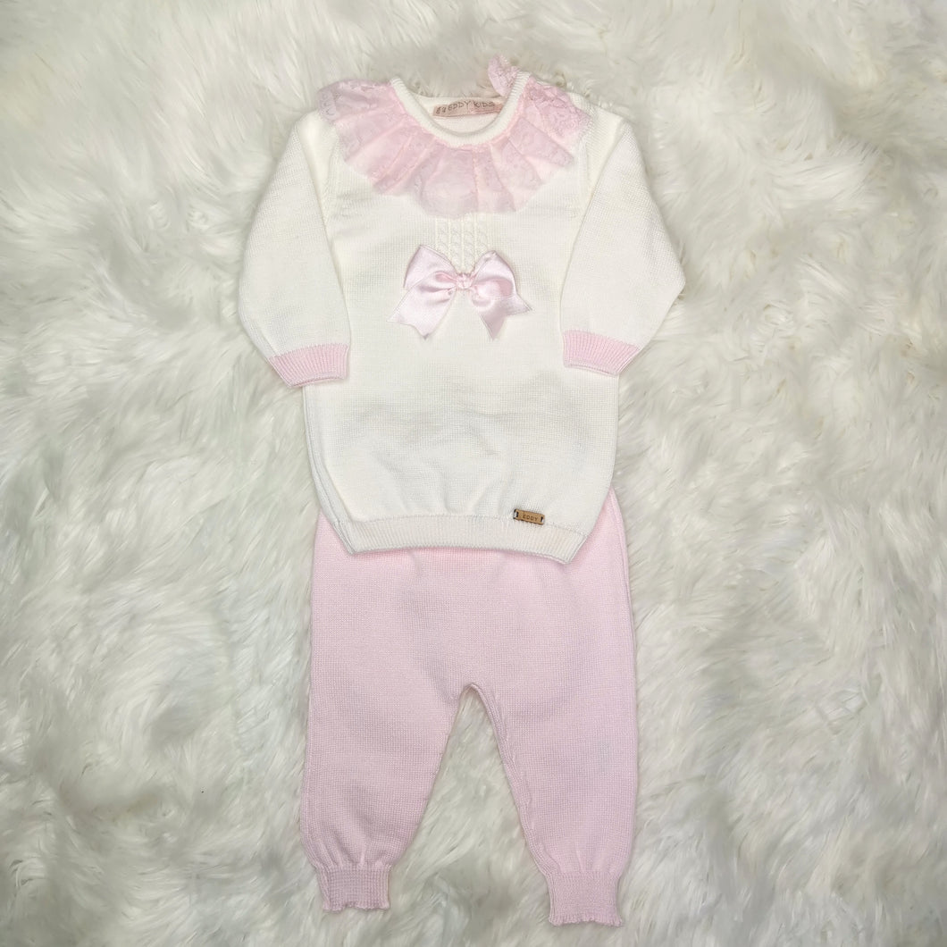 Girls Cream And Pink Lounge Set With Lace Collar