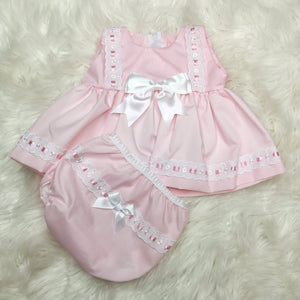 Baby Girls Pink Sundress With Bloomers