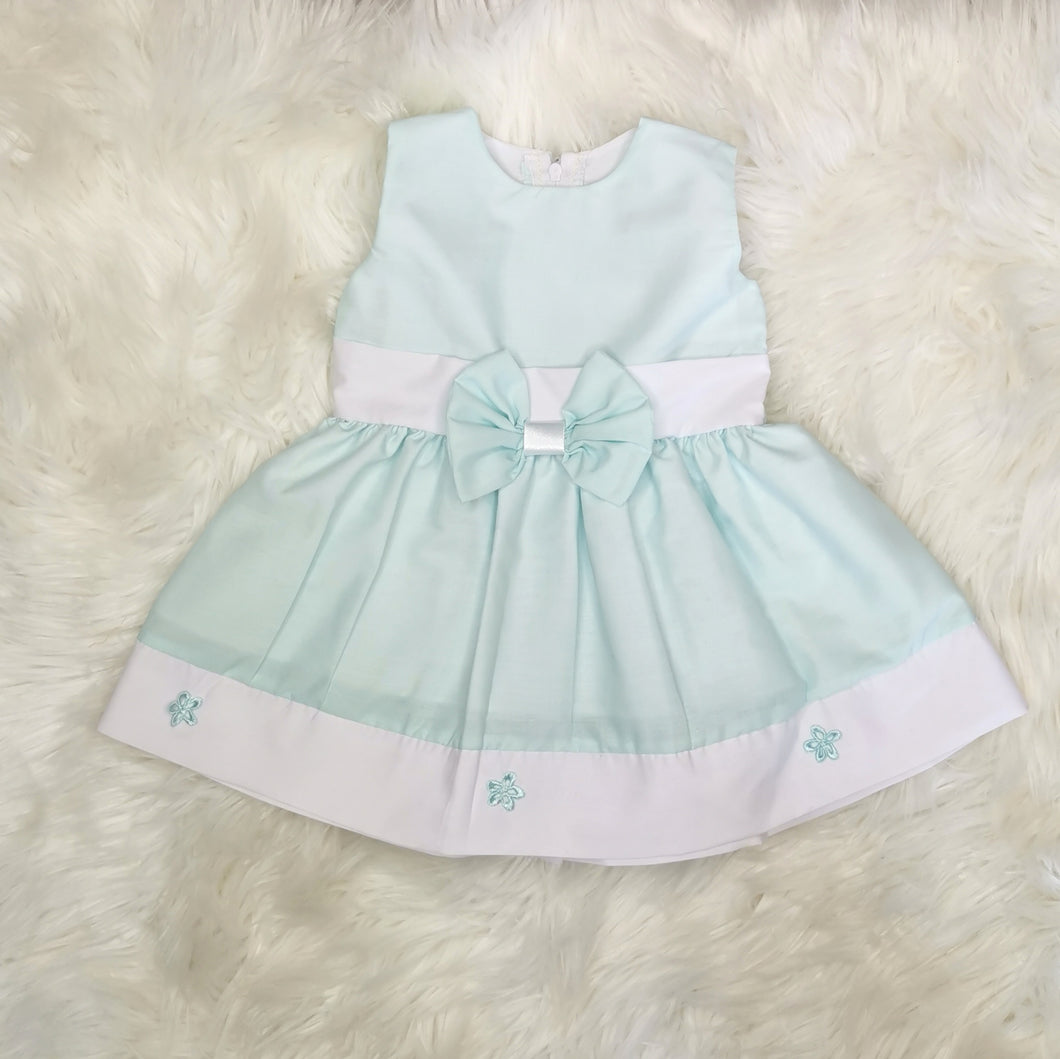 Pastel Green Girls Sundress With Bow And Flower Embellishments