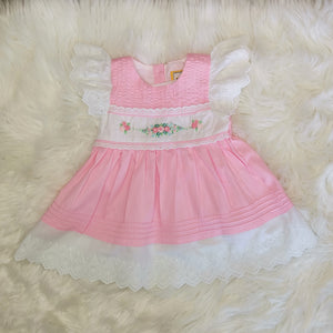 Girls Pintuck Dress With Hand Embroidery and Ribbon