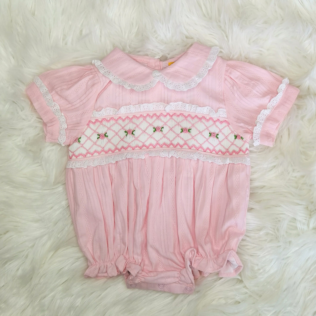 Baby Pink Hand Embroidered Romper With Ribbon
