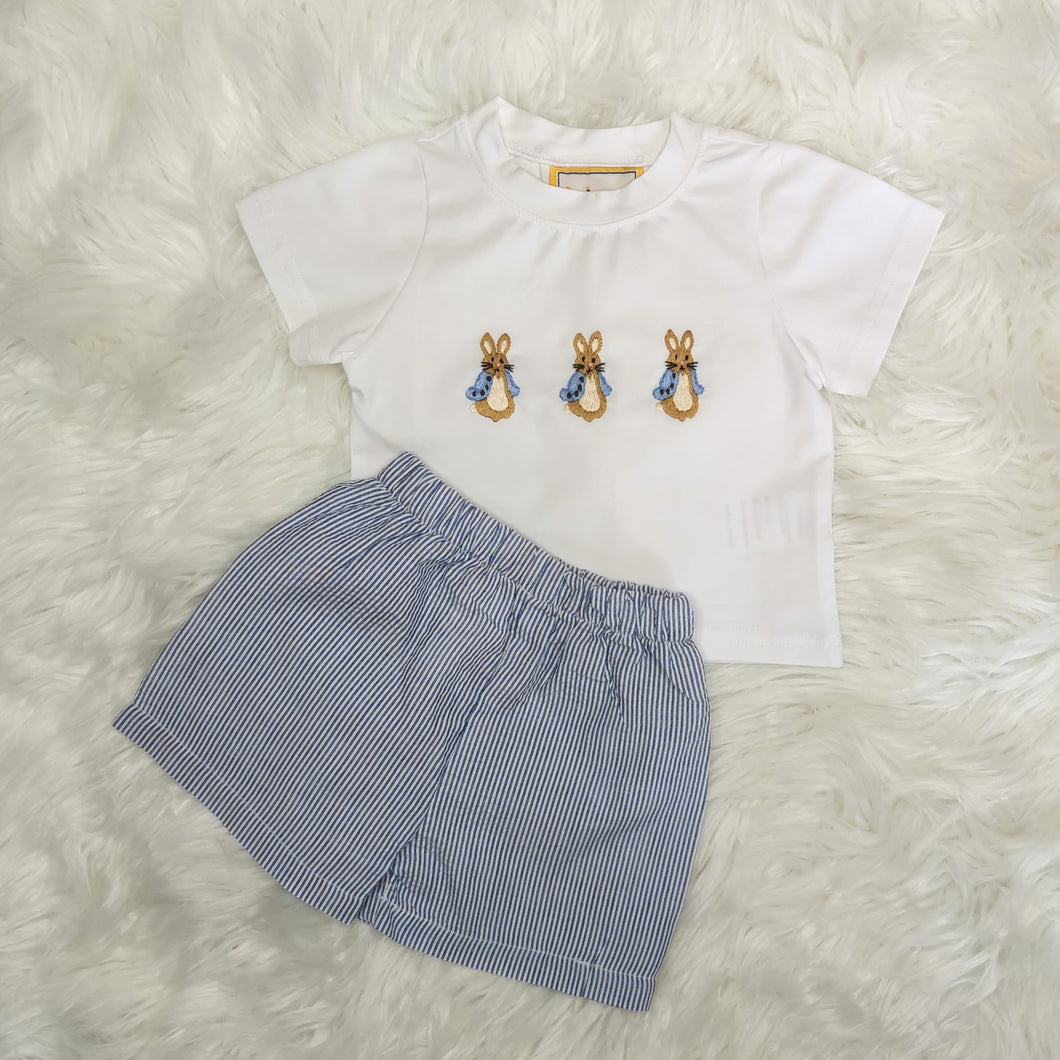 Boys Embroidered Bunny Rabbit Top And Shorts