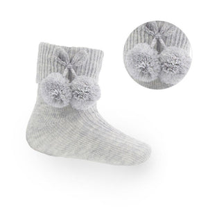 Grey Ankle Pom-Pom Socks (up to 24m)