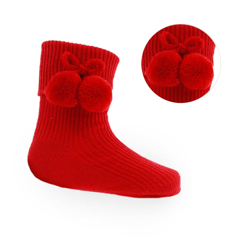 Red Ankle Pom-Pom Socks (up to 24m)