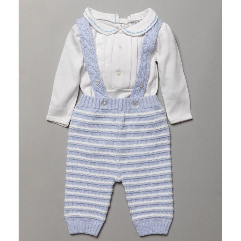 Baby Boys Blue And White Knitted Cable Dungarees With Bodysuit
