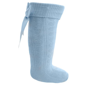 Girls Baby Blue Knee Length Sock With Bow