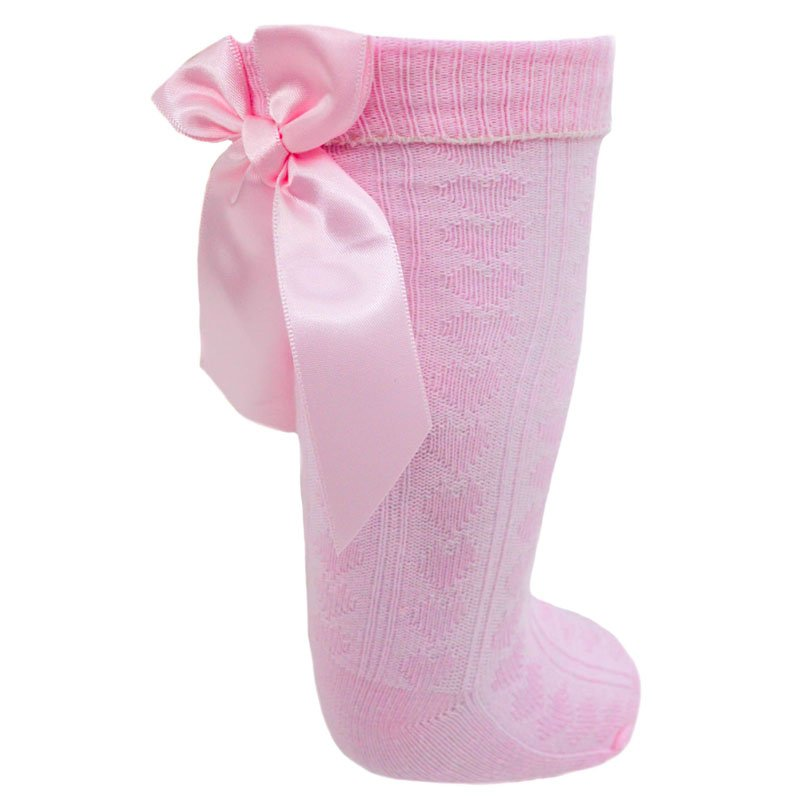 Girls Pink Knee Length Sock With Bow