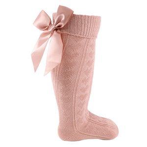 Rose Gold Knee Length Sock With Bow
