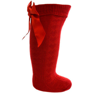 Girls Red Knee Length Sock With Bow