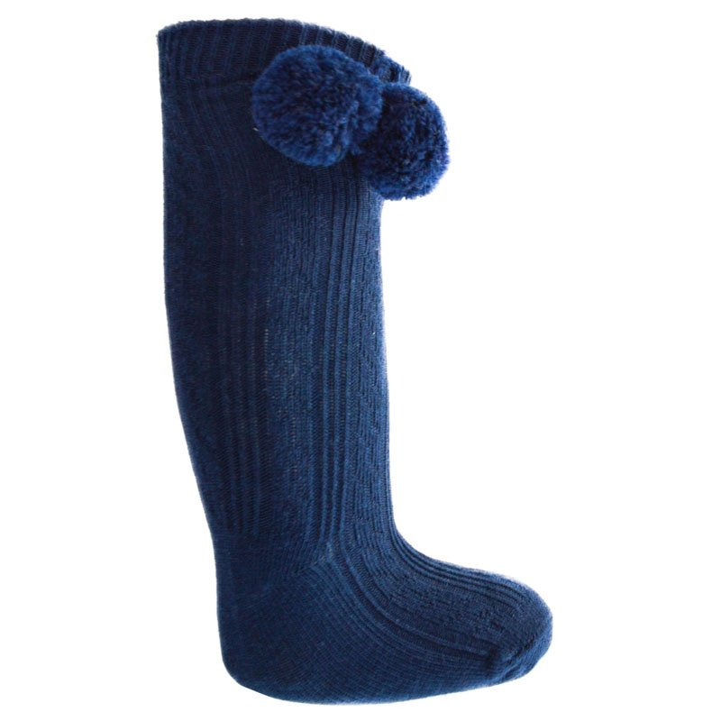 Navy Blue Knee Length Pom-Pom Socks