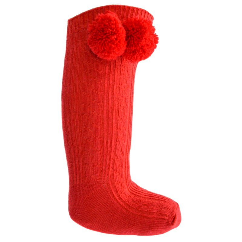 Red Knee Length Pom-Pom Socks