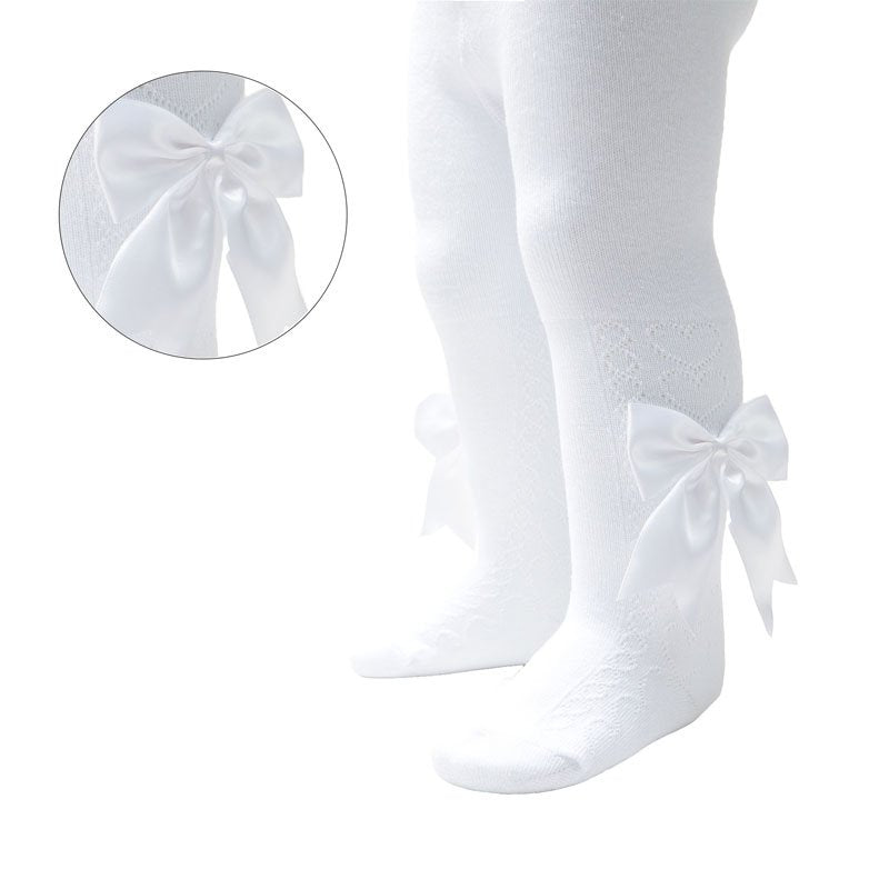 White Heart Pattern Tights With Large Bow