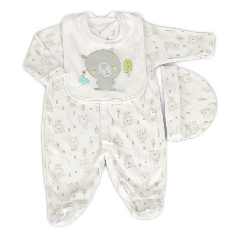 Unisex Baby Bear 3 Piece Set - Sleepsuit, Hat And Bib