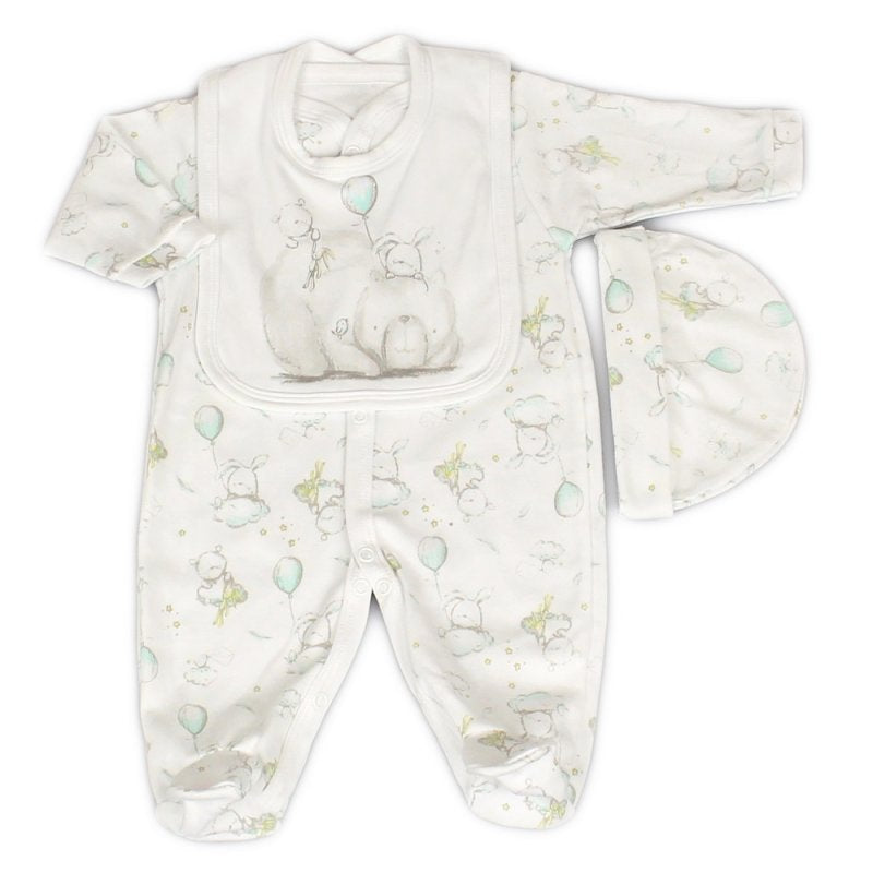 Unisex Baby Bear And Balloons 3 Piece Set - Sleepsuit, Hat And Bib