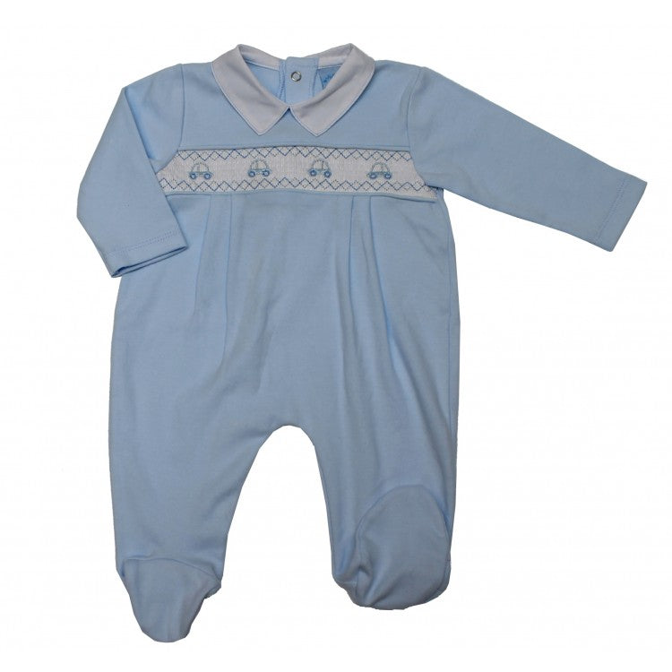 Baby Boys Blue Smocked Cars Cotton Sleepsuit