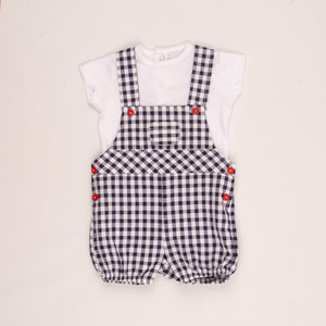 Baby Boys Checked Dungarees & T-Shirt By Brand Dandelion
