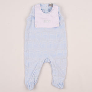 Spanish Style Velour Baby Boys Sleepsuit With Shirt And Train Detail