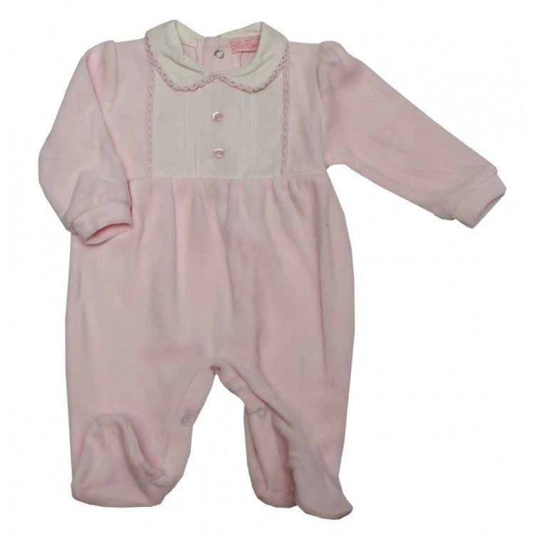 Baby Girls Pink Velour Sleepsuit