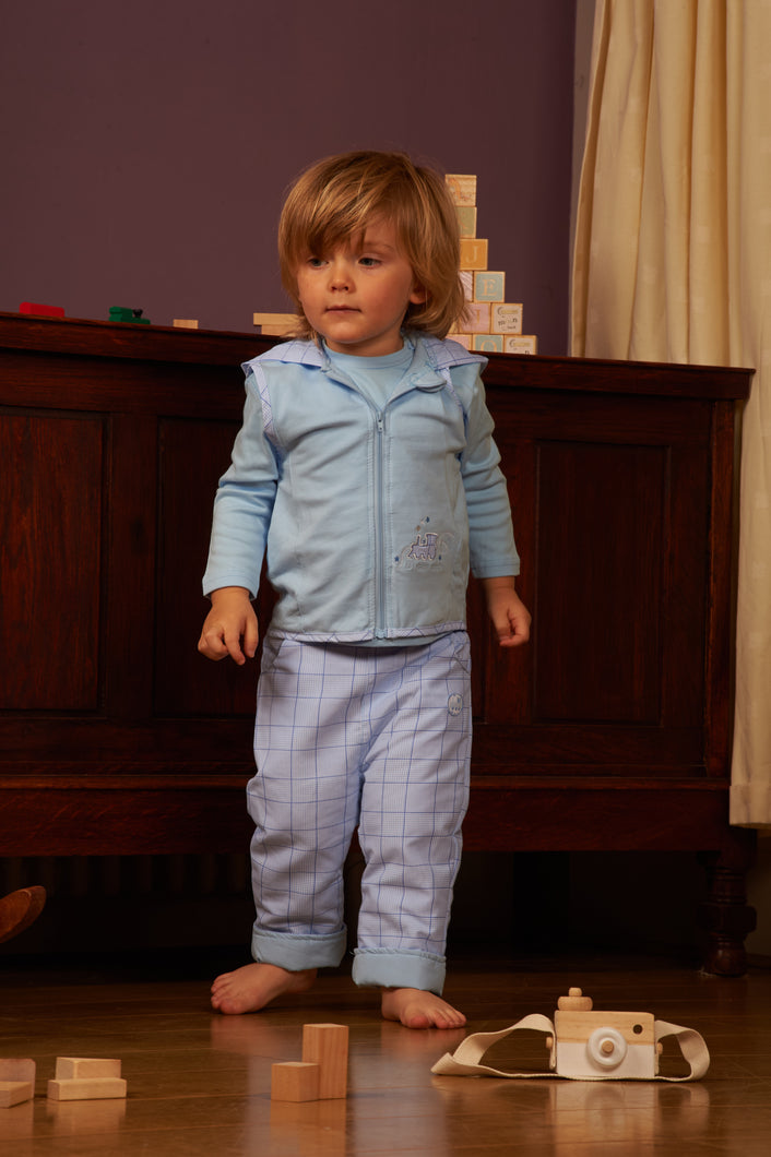 Blue 3 Piece Tracksuit With Matching Bodywarmer