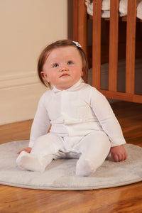 Unisex white velour sleepsuit