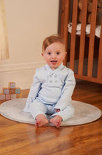 Load image into Gallery viewer, Baby Blue Knit Two Piece Set With Matching Hat By Mintini