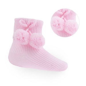 Pink Ankle Pom-Pom Socks (up to 24m)