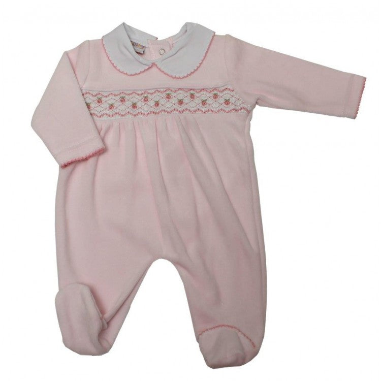 Baby Girls Pink Smocked Velour Sleepsuit With Embroidered Roses