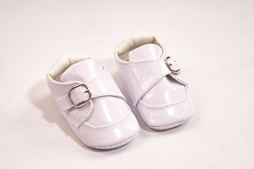 Baby Boys Off White Pram Shoes With Buckle