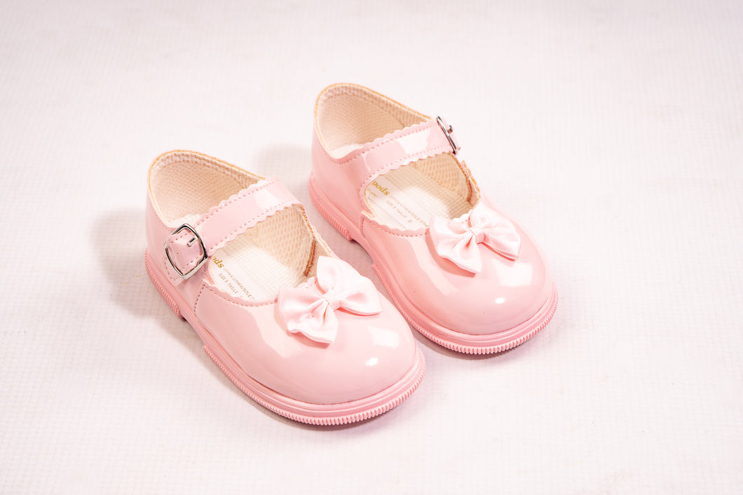 BAYPODS Pink Patent Hard Sole Shoes With Bow