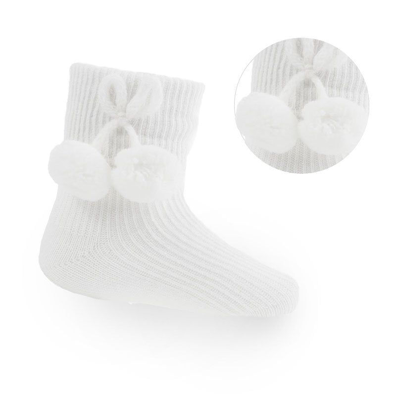 White Ankle Pom-Pom Socks (up to 24m)