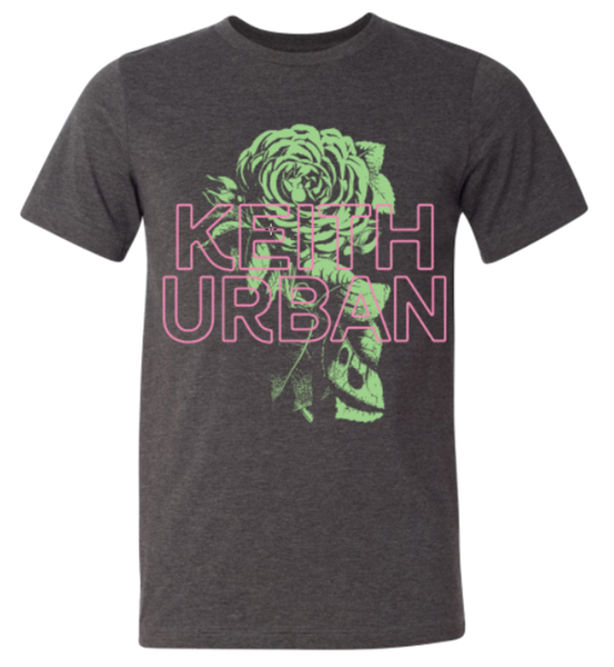 Green Neon Rose Heather Charcoal Tee