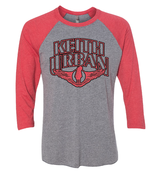 Red Guitar Wings Baseball Tee
