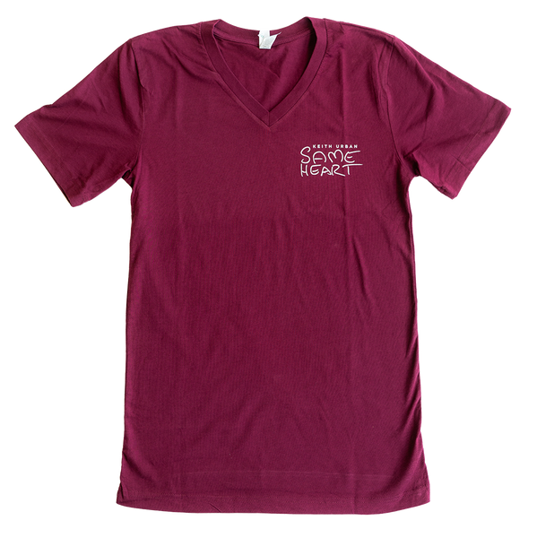 "V-Neck Keith Urban Hand-Drawn ""Same Heart"" Design T-Shirt"