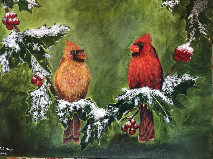 Couple cardinal on holy branches
