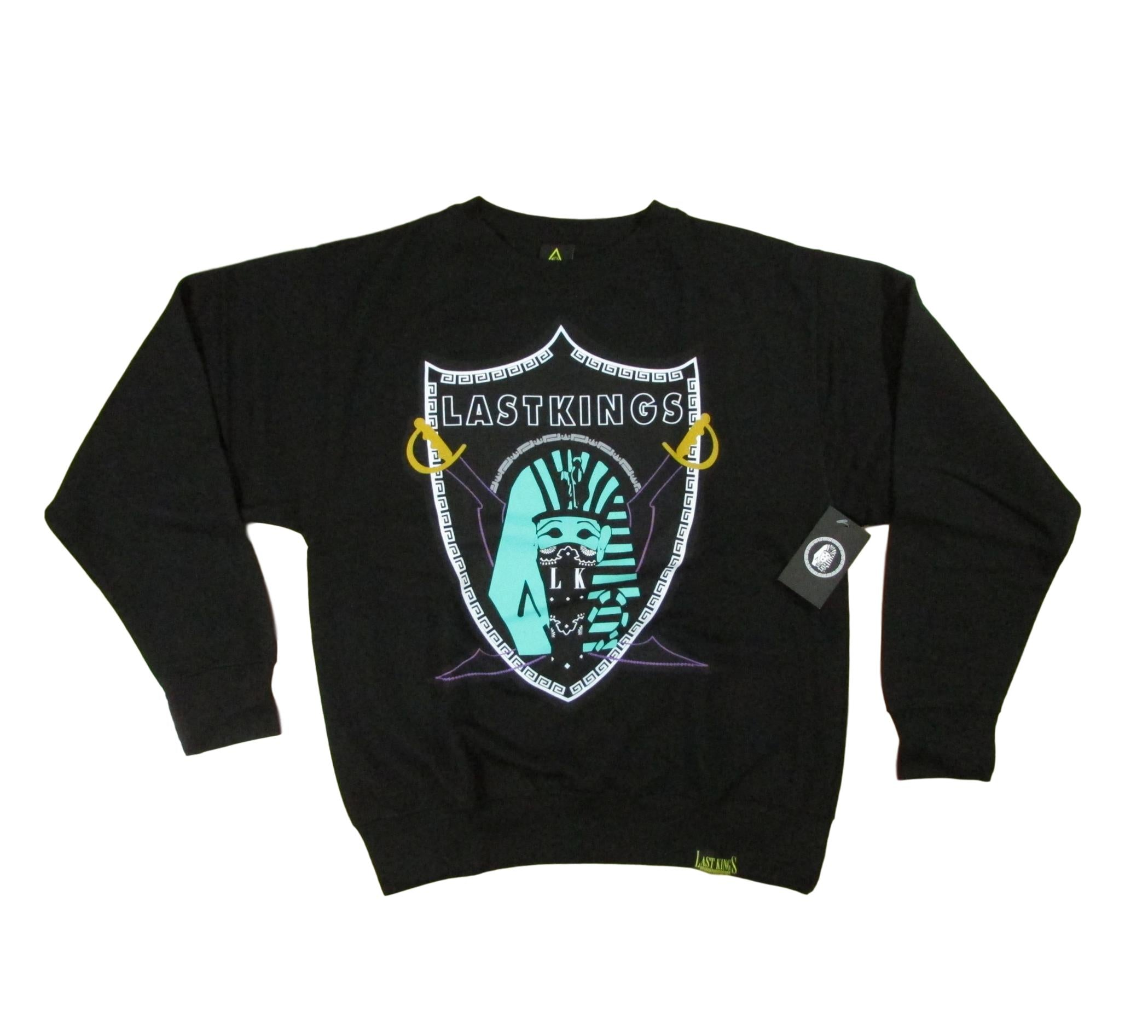 Last Kings Teal Pharaoh Raiders Emblem Crewneck Sweater Black