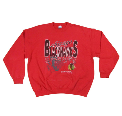 Chicago Blackhawks Hockey Club Crewneck Sweater Salem Sportswear Sz XL