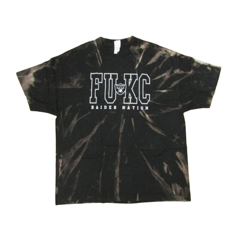 Oakland Raiders FUKC Tie Dye Bleach Football T-Shirt XXL
