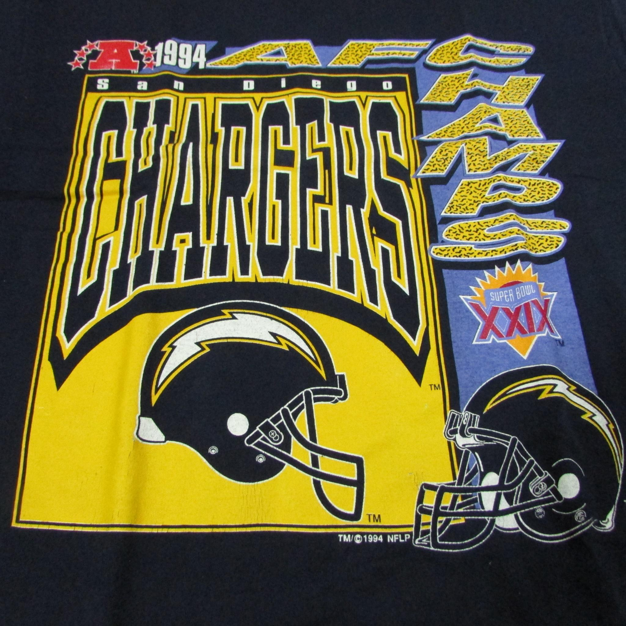San Diego Chargers 94 AFC Champions Super Bowl Vintage Football T-Shirt Sz L