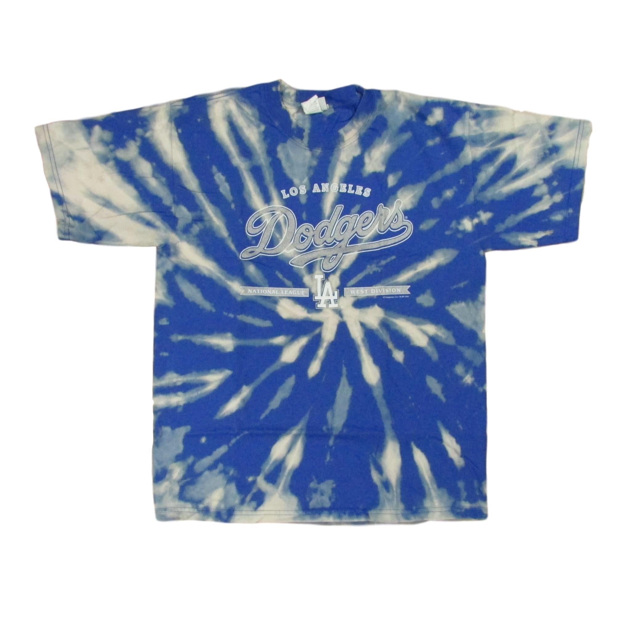 Los Angeles Dodgers Sky Bleach Tie Dye Baseball T-Shirt Lee Sports Sz L