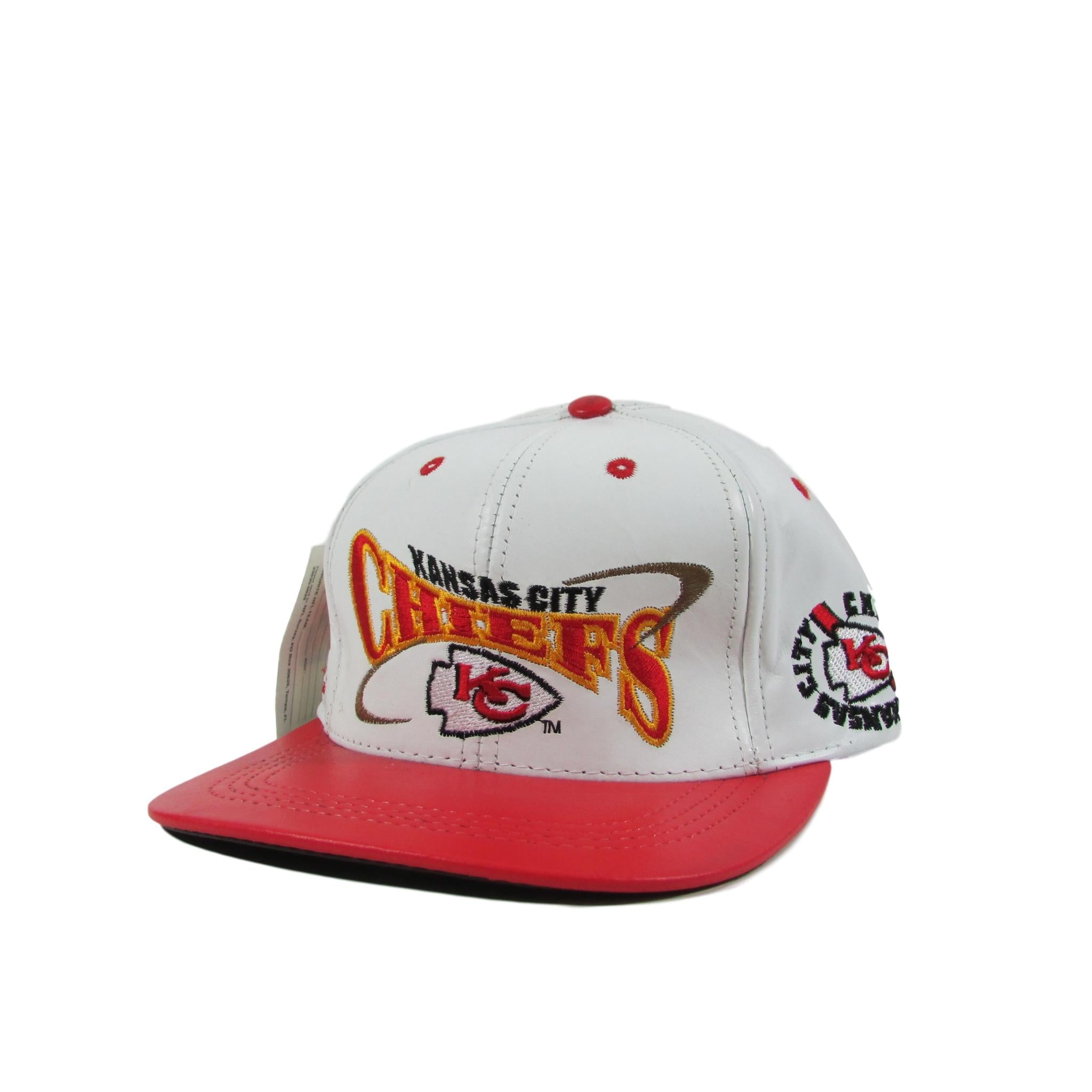 Kansas City Chiefs Deadstock Leather Football Strapback Hat Pro Style Team NFL