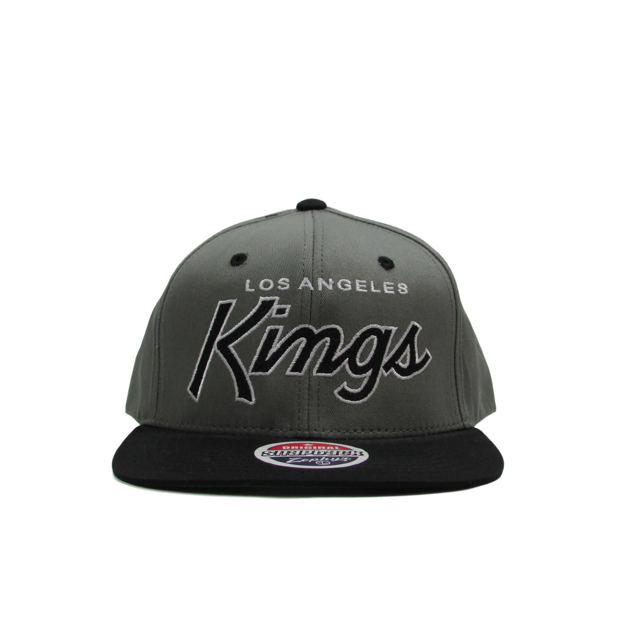 Los Angeles LA Kings Cursive Font Hockey Snapback Hat Black Brim Zephyr Hats