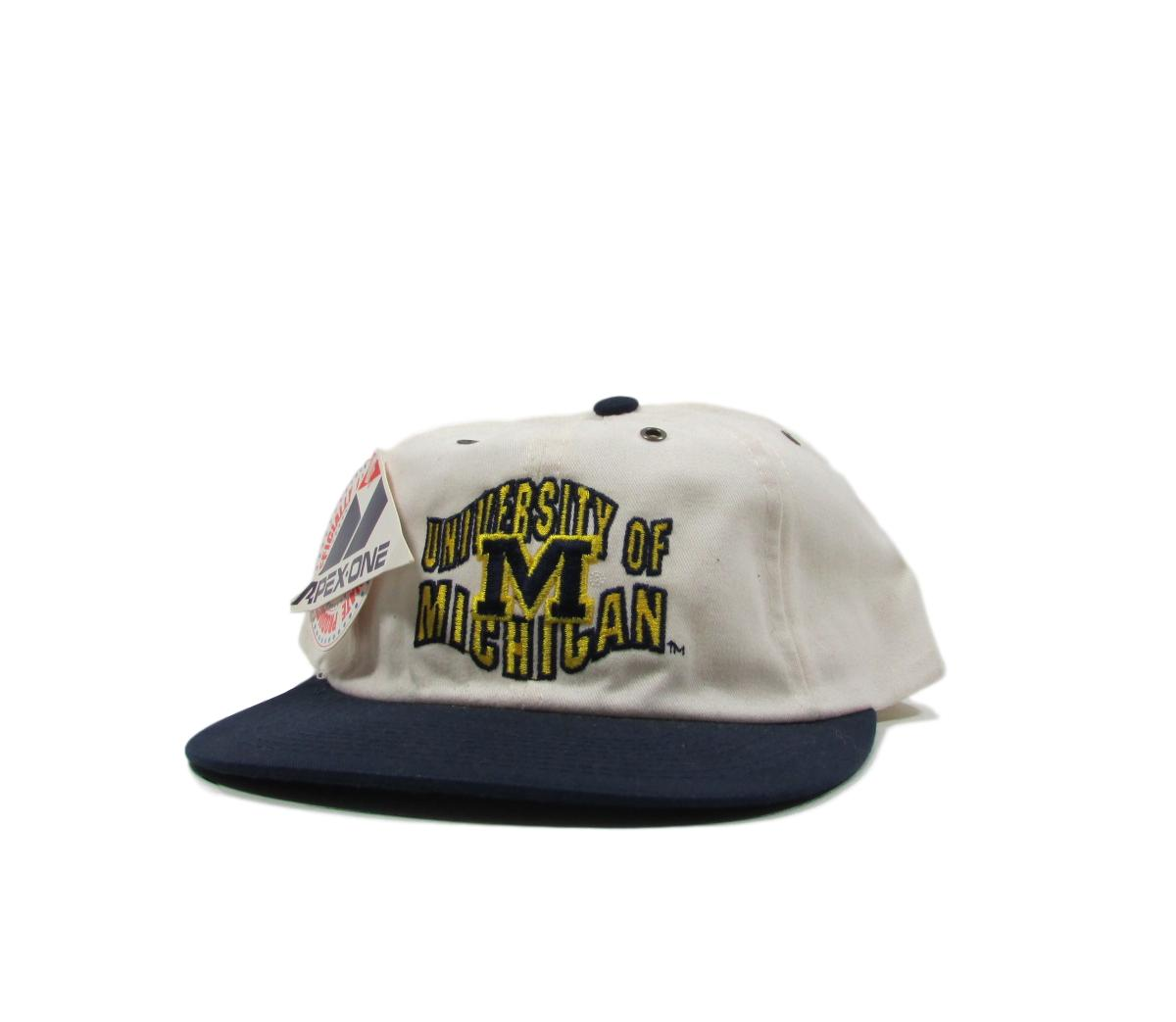 University of Michigan Wolverines Deadstock College Leather Strapback Hat Apex One