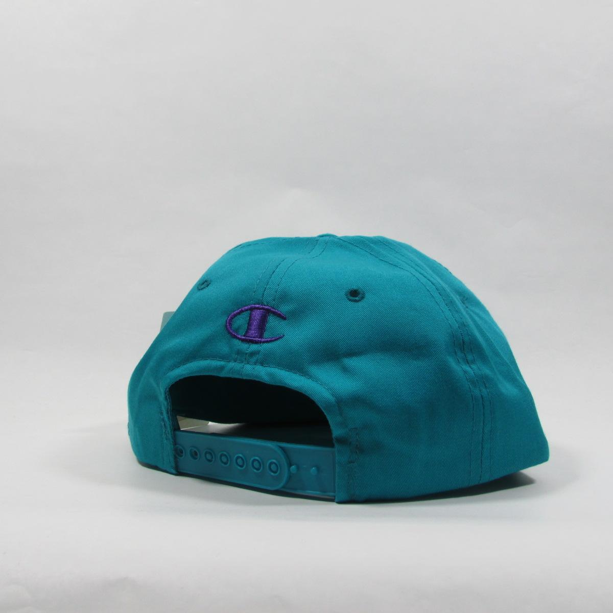 Charlotte Hornets Deadstock 1988 Champion Snapback Hat Basketball Light Teal