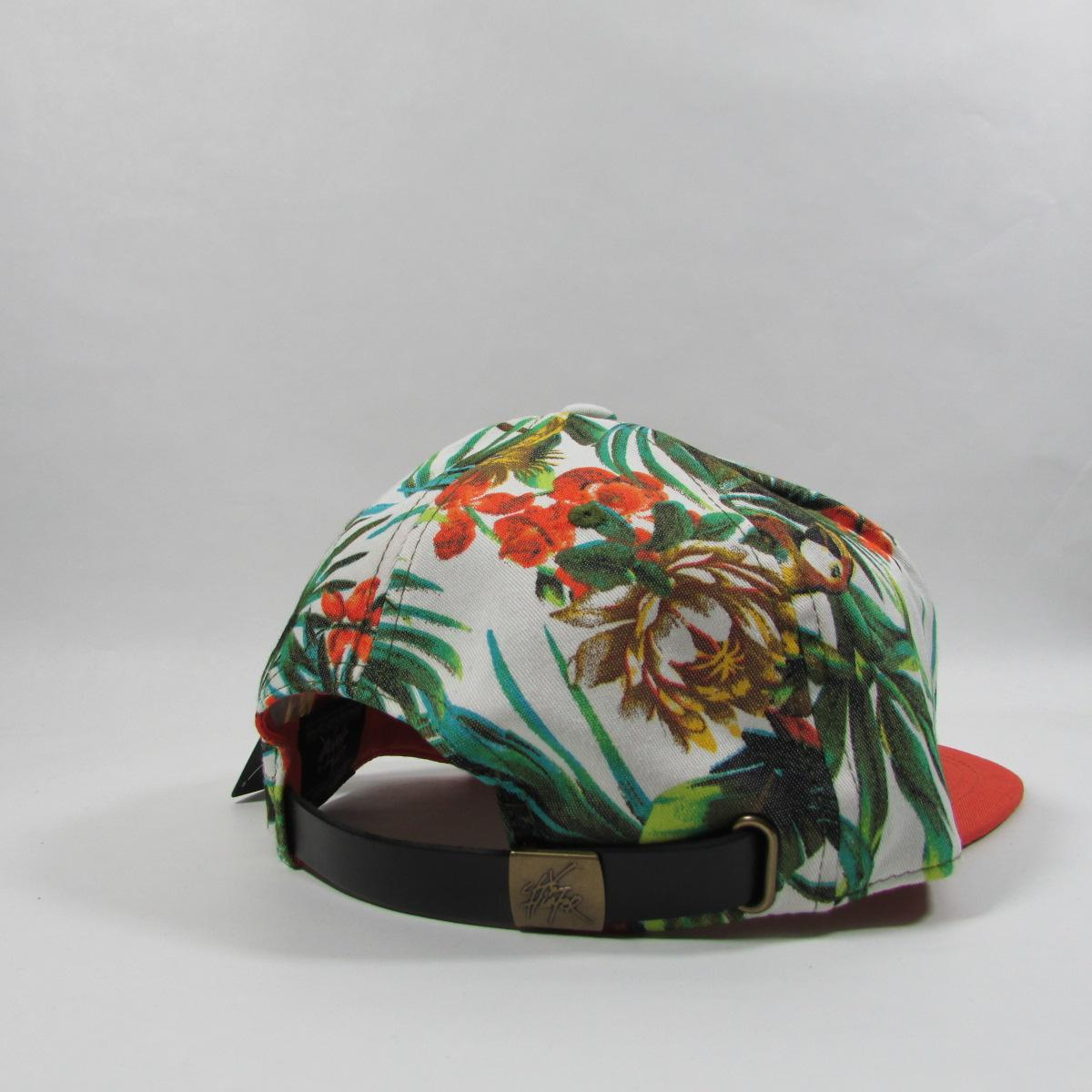 City Hunter 7 Panel Floral Hawaii Jungle Leather Strapback Hat