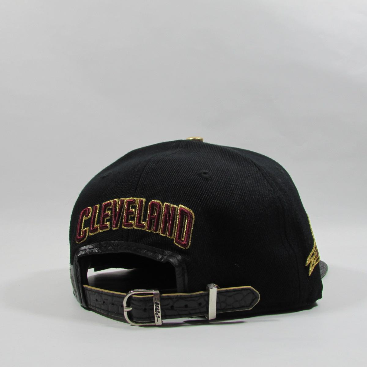 Cleveland Cavaliers CAVS Gold Leather Basketball Strapback Hat Pro Standard