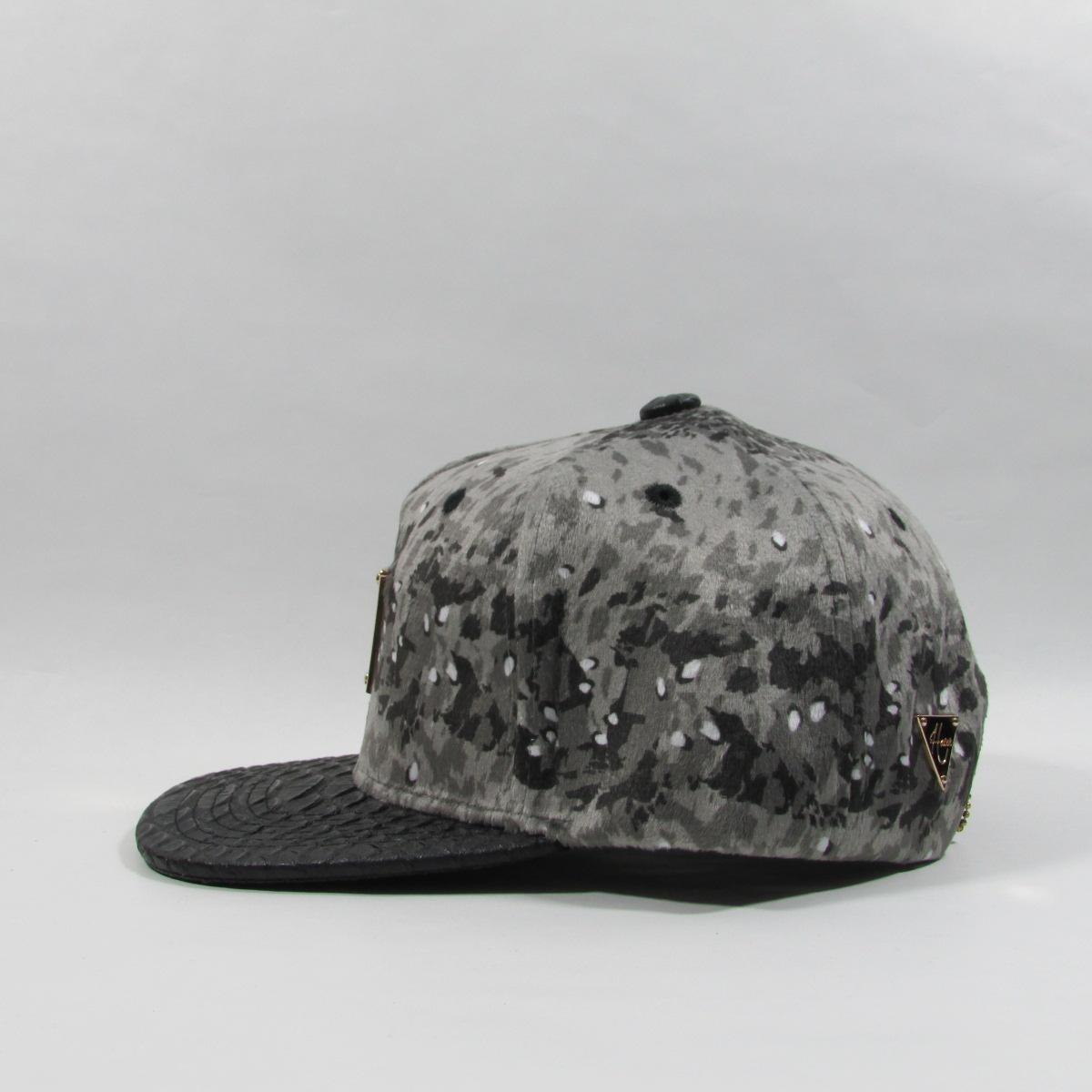 HATer Snow Sprinkle Velour Gator Leather Snapback Hat