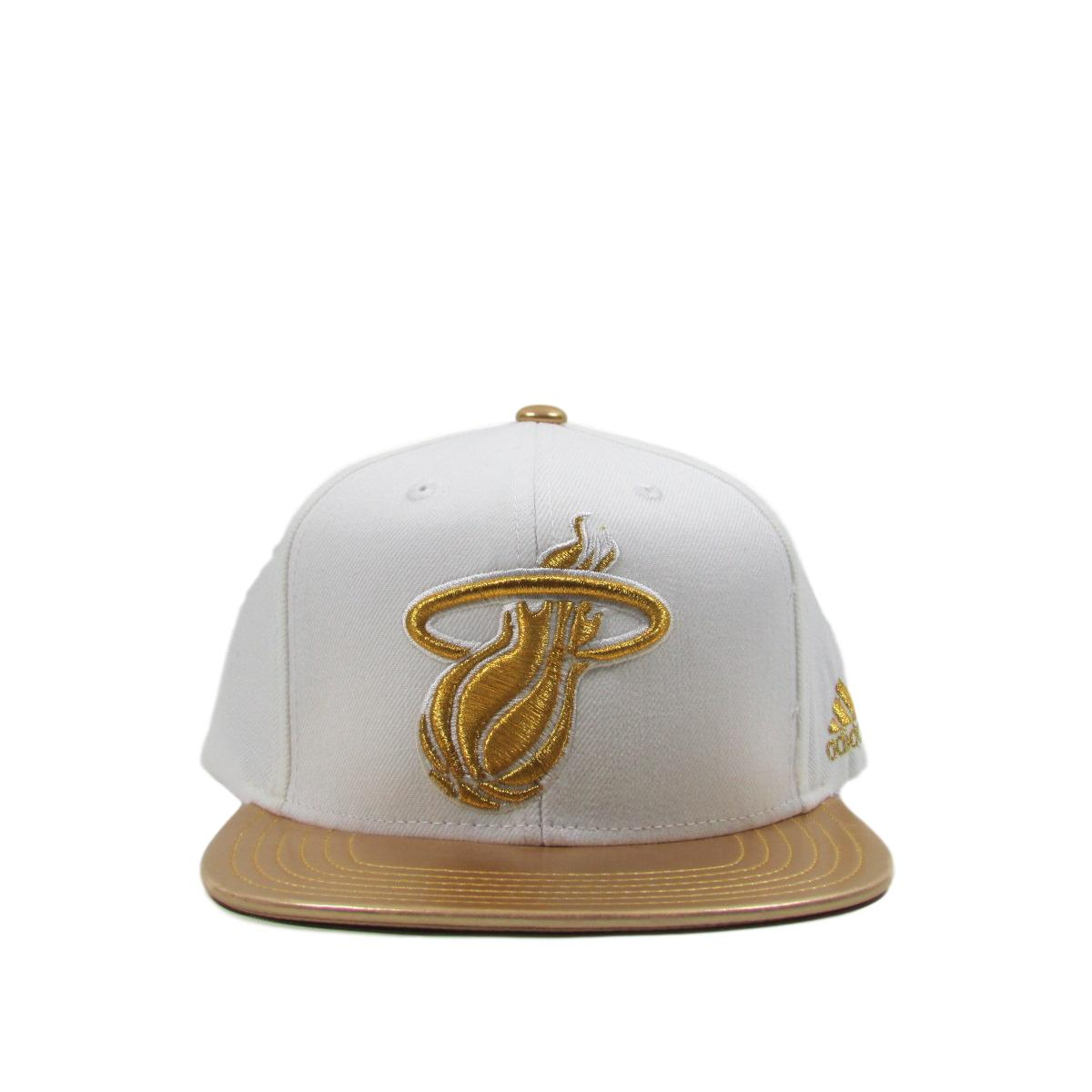 Miami Heat White Gold Leather Brim Basketball Snapback Hat Adidas