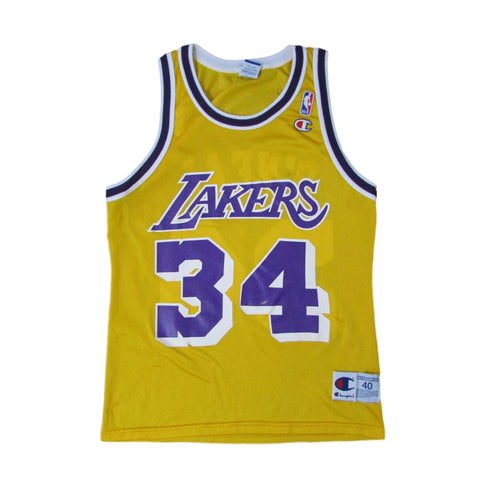 Los Angeles Lakers Shaquille O'Neal 1996 Champion Basketball Jersey Sz 40