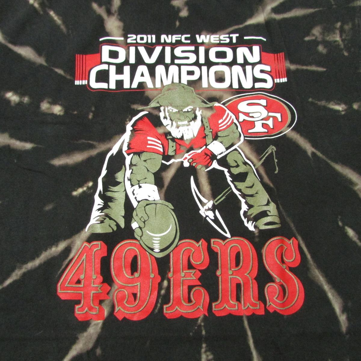 San Francisco 49ers Tie Dye Bleached Football T-Shirt 2011 Division Champs Sz XL