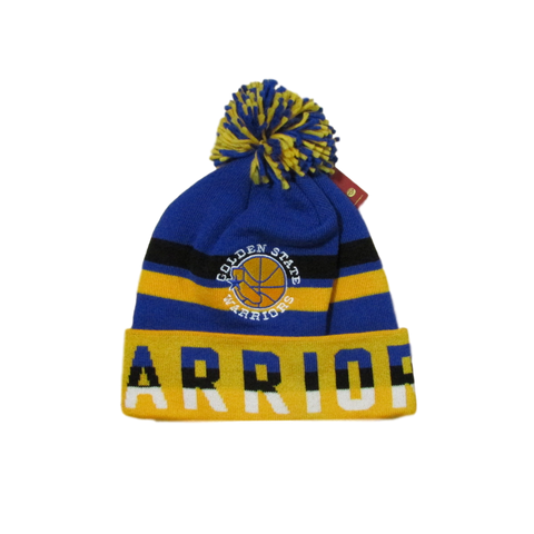Golden State Warriors Script Font Pom Beanie Mitchell & Ness
